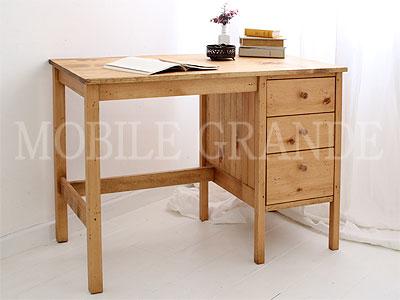 ペイント家具 パイン材 淡いペイントが愛らしいフランスアンティークのドロワー付きデスク(ワークデスク、作業台、両袖机)