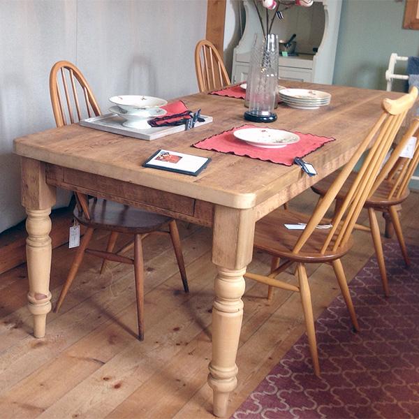 英国スタイルパイン家具 ダイニングテーブル オールドパイン 2100x900 引出1杯付