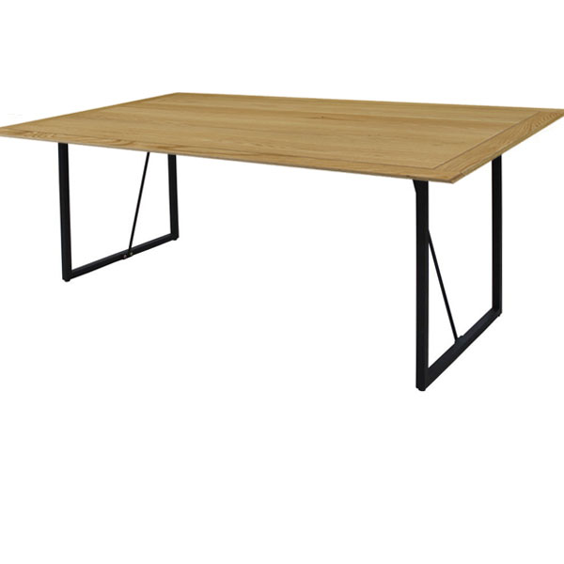 【玄関前渡送料無料-MX】LPシリーズ THE TABLE 150 オーク アイアン脚 【突板天板】