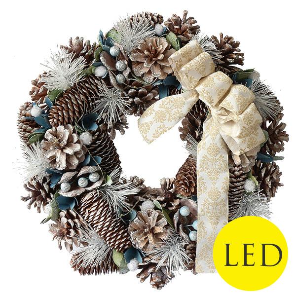 LED点灯機能付き Ribbon Wreath リボンリース ホワイト&シルバー
